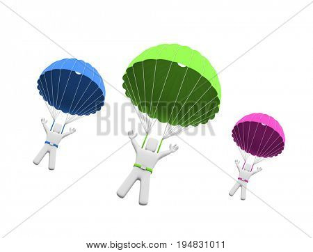 People in multi-colored parachute. 3d illustration