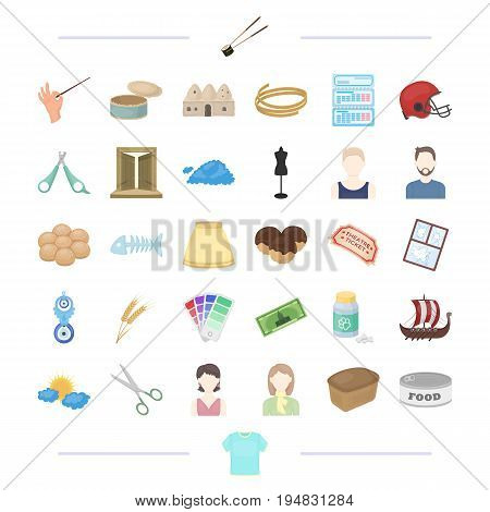 clothing, appearance, atelier and other  icon in cartoon style.theater, weather, typedography icons in set collection.