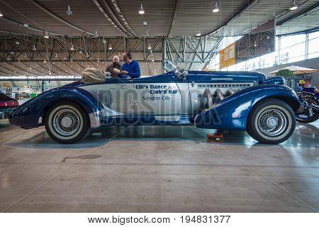 STUTTGART GERMANY - MARCH 17 2016: Luxury car Auburn Duesenberg Model SJ Cabrio. Europe's greatest classic car exhibition