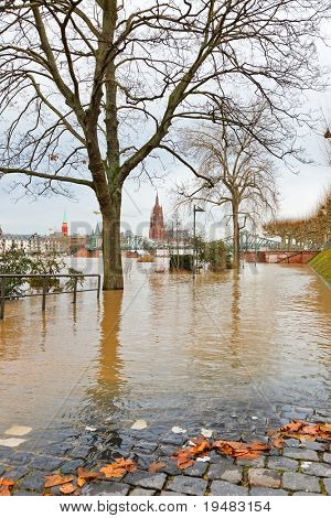 FRANKFURT- JANUARY 15: Flood in Frankfurt am Main due to extremely high water in Main river, January 15, 2011, Frankfurt.