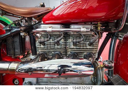 STUTTGART GERMANY - MARCH 17 2016: Engine of motorcycle Indian Four 1939. Europe's greatest classic car exhibition