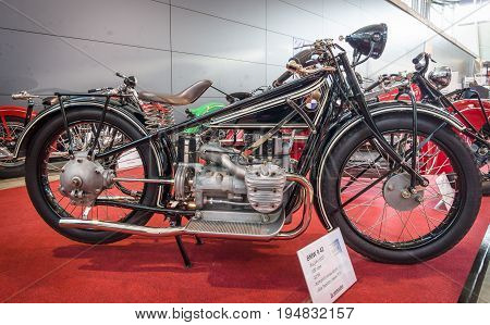 STUTTGART GERMANY - MARCH 17 2016: Motorcycle BMW R42 1927. Europe's greatest classic car exhibition