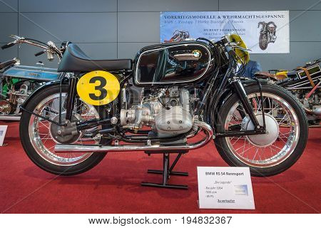 STUTTGART GERMANY - MARCH 17 2016: Racing motorcycle BMW RS 54 1954. Europe's greatest classic car exhibition