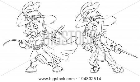 Cartoon musketeer in hat with sword black and white character vector set for coloring