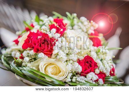 Wedding bouquet. Bride's flowers, Festive bouquet of the bride, roses
