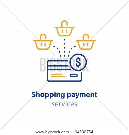 Shopping payment options concept, multiple orders, credit card finance, shop services, vector line icon