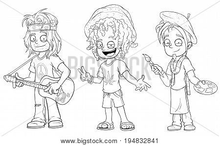 Cartoon hippie with guitar jamaican artist black and white character vector set for coloring