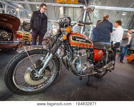 STUTTGART GERMANY - MARCH 17 2016: Motorcycle Honda CB750 Four K7 1976. Europe's greatest classic car exhibition
