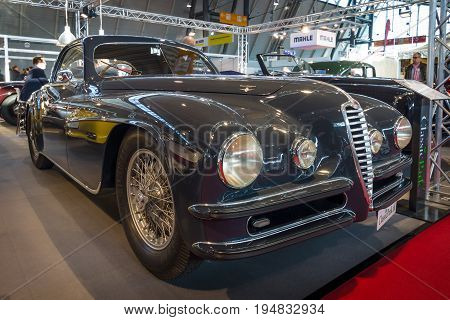 STUTTGART GERMANY - MARCH 17 2016: Vintage car Alfa Romeo 6C 2500 SS Touring Superleggera Coupe 1948. Europe's greatest classic car exhibition