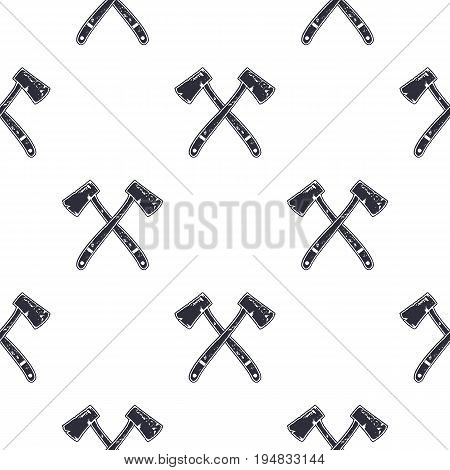 Vintage hand drawn crossed axes shape seamless. Retro monochrome lumberjack or mining pattern. Can be used for t shirts, prints, logotype, badges, icons and other identity. Stock vector.