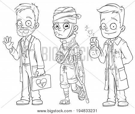 Cartoon doctor patient scientist black and white character vector set for coloring