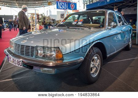 STUTTGART GERMANY - MARCH 17 2016: Executive car NSU Ro 80 (995 cc two-rotor Wankel engine) 1976. Europe's greatest classic car exhibition