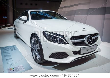 STUTTGART GERMANY - MARCH 17 2016: Compact executive car Mercedes-Benz C250 Cabriolet (W205) 2016. Europe's greatest classic car exhibition