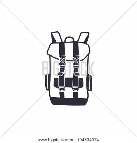 Vintage hand drawn backpack shape in monochrome engrave line style. Adventure icon, pictogram. Camping hipster survival style. Stock vector isolated on white background.