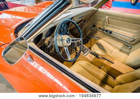 STUTTGART GERMANY - MARCH 17 2016: Cabin of sports car Chevrolet Corvette Stingray Coupe (C3) 1975. Europe's greatest classic car exhibition