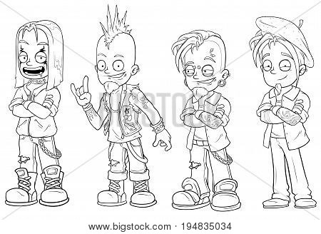 Cartoon punk rock metal guys black and white character vector set for coloring