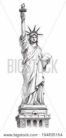 Statue of liberty, vector hand drawn illustration. New York and USA landmark. American national symbol.