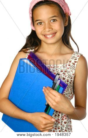 Young Schoolgirl With Folder Files And Pens Isolated
