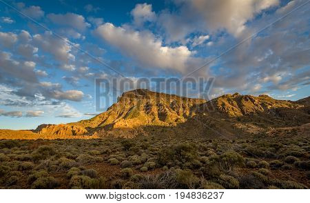 Panoramic landscape of Guajara mountain from Parador viewpoint, El Teide national park, Tenerife island, Spain.