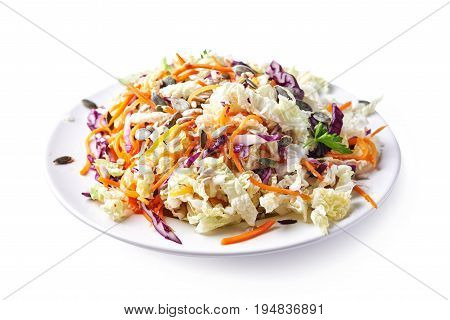 plate with coleslaw isolated on white background