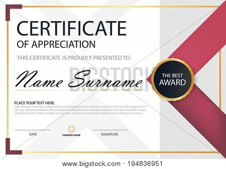 Pink Elegance horizontal certificate with Vector illustration white frame certificate template with clean and modern pattern presentation