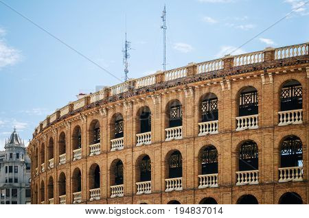 Bullring Plaza de Toros in Valencia Spain. Local Landmark