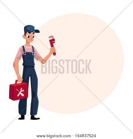 Smiling plumbing specialist, plumber standing with wrench and toolbox, cartoon vector illustration with space for text. Full length portrait of plumber, plumbing specialist with a toolbox