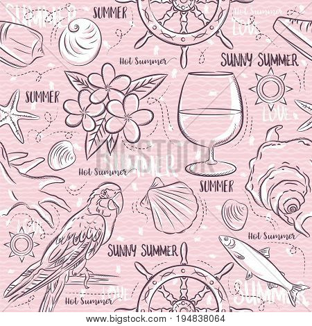 Seamless Patterns with summer symbolsship rudder parrot cocktail fish on a pink background vector illustration.