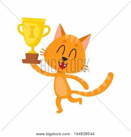 Cute little red cat character, champion holding golden winner cup, cartoon vector illustration isolated on white background. Baby cat, kitten animal champion holding cup for taking first place