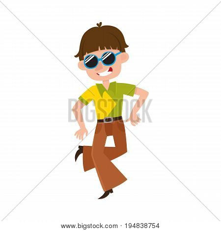 Young man in retro sunglasses and bell-bottomed trousers dancing dicso, cartoon vector illustration isolated on white background. Young man, guy in bell-bottomed pants dancing at retro disco party