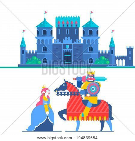 Fairytale castle. Characters Princess and Knight. Flat Vector Illustrations