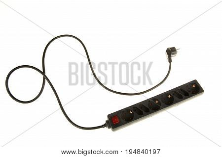 Black extension cord with plug isolated on a white background