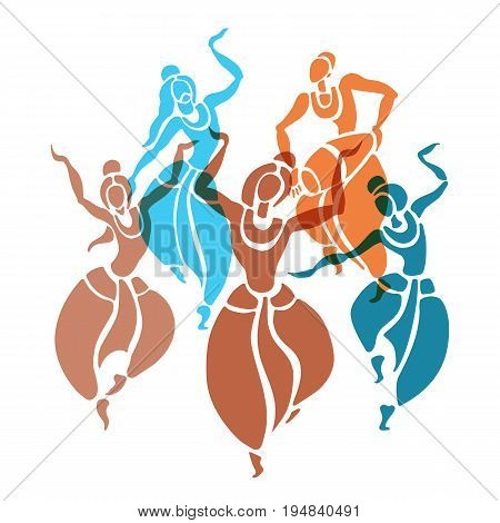 Indian dancers. Dancing people in ethnic style. Vector Illustration.