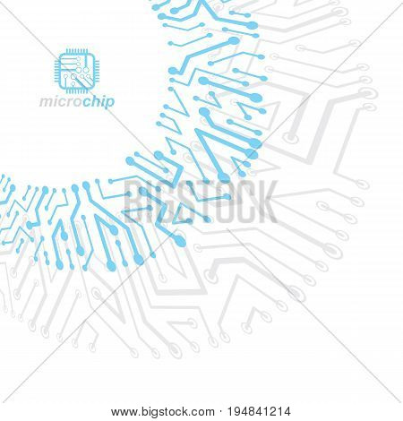 Vector abstract technology illustration with circuit board. High tech digital scheme of electronic device. Technology microchip abstract background