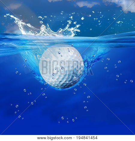 Golf ball splashes into deep blue water.
