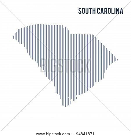 Vector Abstract Hatched Map Of State Of South Carolina With Vertical Lines Isolated On A White Backg