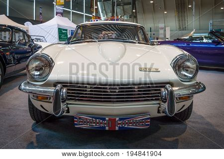 STUTTGART GERMANY - MARCH 18 2016: Sports car Triumph GT6 Mk II 1970. Europe's greatest classic car exhibition