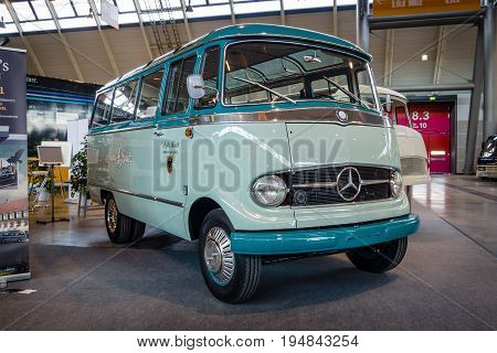 STUTTGART GERMANY - MARCH 18 2016: Minibus with panoramic windows Mercedes-Benz O319 1958. Europe's greatest classic car exhibition