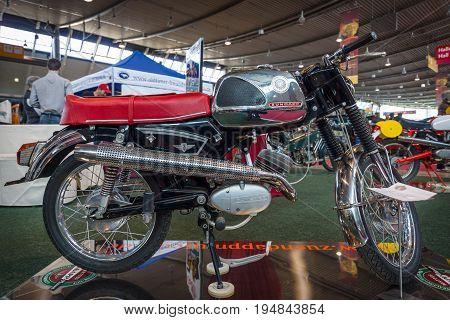 STUTTGART GERMANY - MARCH 18 2016: Motorcycle Zuendapp KS 50 Super Sport 1969. Europe's greatest classic car exhibition