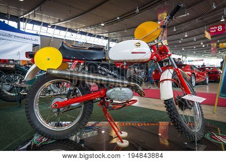 STUTTGART GERMANY - MARCH 18 2016: Motorcycle Zuendapp GS 50 Racing Replica (Typ 510-40LO) 1966. Europe's greatest classic car exhibition