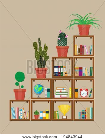 Library wooden book shelf. Globe, flower, clocks, cactus, cup. Bookcase with different books. Vector illustration in flat style