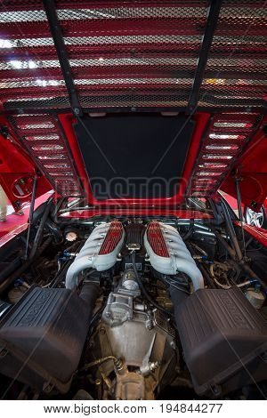 STUTTGART GERMANY - MARCH 18 2016: Engine of sports car Ferrari F512 M Testarossa 1995. Europe's greatest classic car exhibition