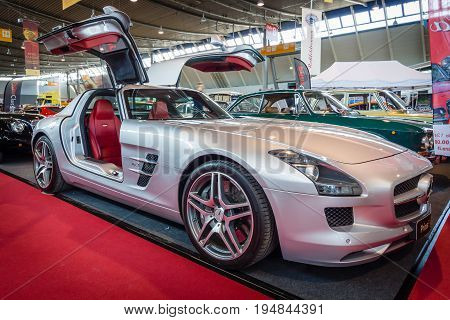 STUTTGART GERMANY - MARCH 18 2016: Supercar Mercedes-Benz SLS AMG 63 Coupe 2010. Europe's greatest classic car exhibition