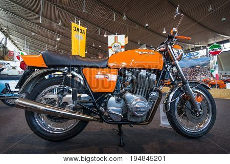 STUTTGART GERMANY - MARCH 18 2016: The serial model motorcycle Laverda 1000 3CL 1975. Europe's greatest classic car exhibition