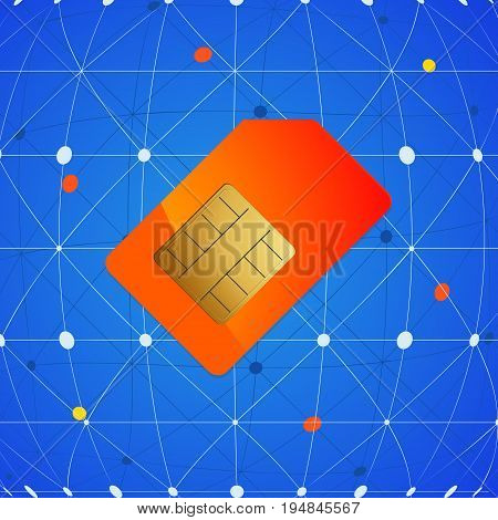 Red Orange Sim Mobile Phone Card Over Blue Network Background