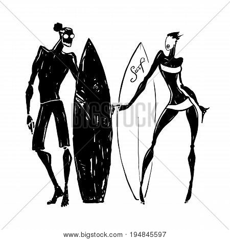 Surfer Silhouettes of woman and man. Hand drawn Vector illustration.