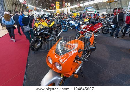 STUTTGART GERMANY - MARCH 18 2016: Section pavilion. Motoclub of friends Laverda (Laverda Freunde Rohrdorf). Europe's greatest classic car exhibition