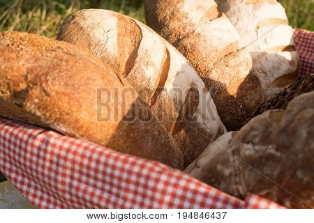 Loafs Of Traditional And Natural Bread In The Basket