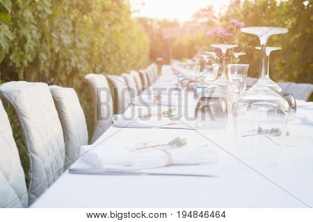 Party Table Set For A Social Event In The Countryside