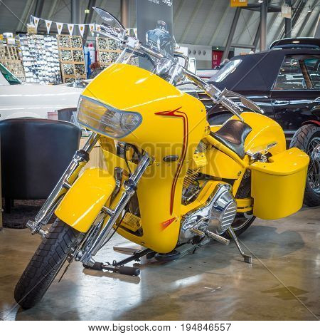 STUTTGART GERMANY - MARCH 18 2016: Motorbike Harley-Davidson PRO STREET Low luxury Liner (Kenny Boyce) 2000. Europe's greatest classic car exhibition